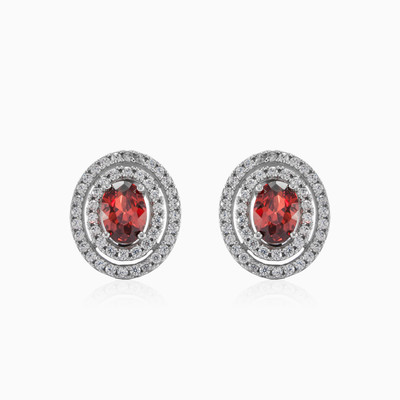 Oval garnet earrings woman earrings MC Gold