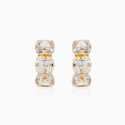 Three crystal earrings woman earrings MC Gold
