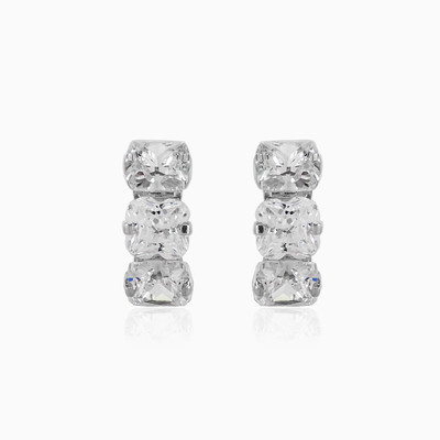 Three white crystal earrings woman earrings MC Gold