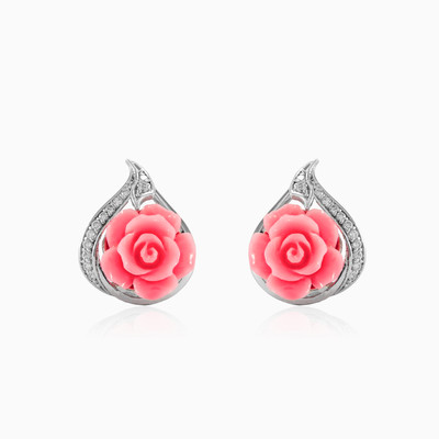 Pink rose earrings woman earrings MC Silver