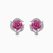 Purple rose earrings woman earrings Colorino