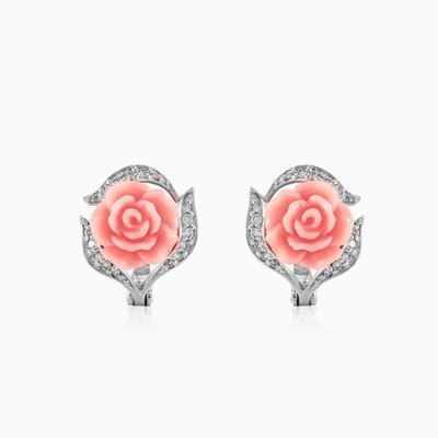 Peach rose earrings woman Earrings Colorino