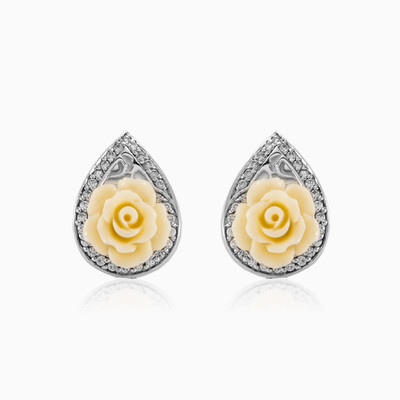 White rose earrings woman earrings MC Silver