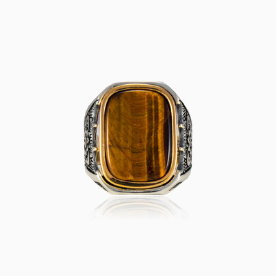 Massive rectangle tiger eye man rings NT