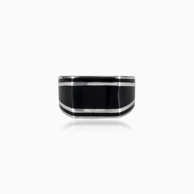 Black enamel ring man rings NT