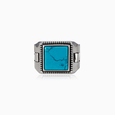 Square flat turquoise man rings NT