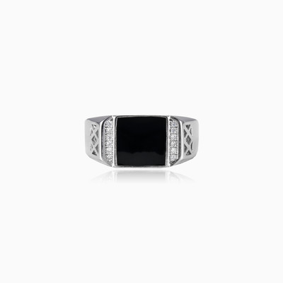 Square black enamel ring man rings NT