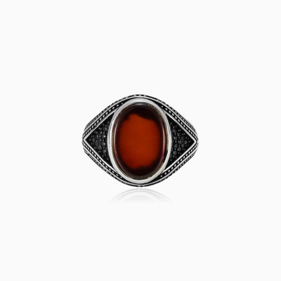 Oval red agate ring man rings NT