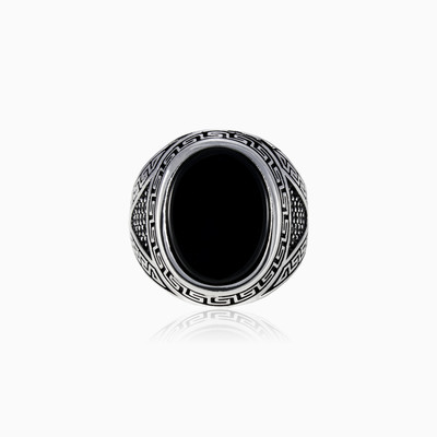 Onyx in greek pattern man rings NT