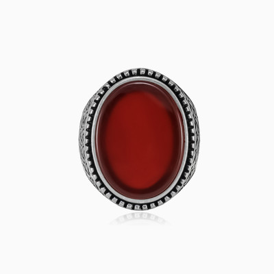 Braided red agate ring man rings NT