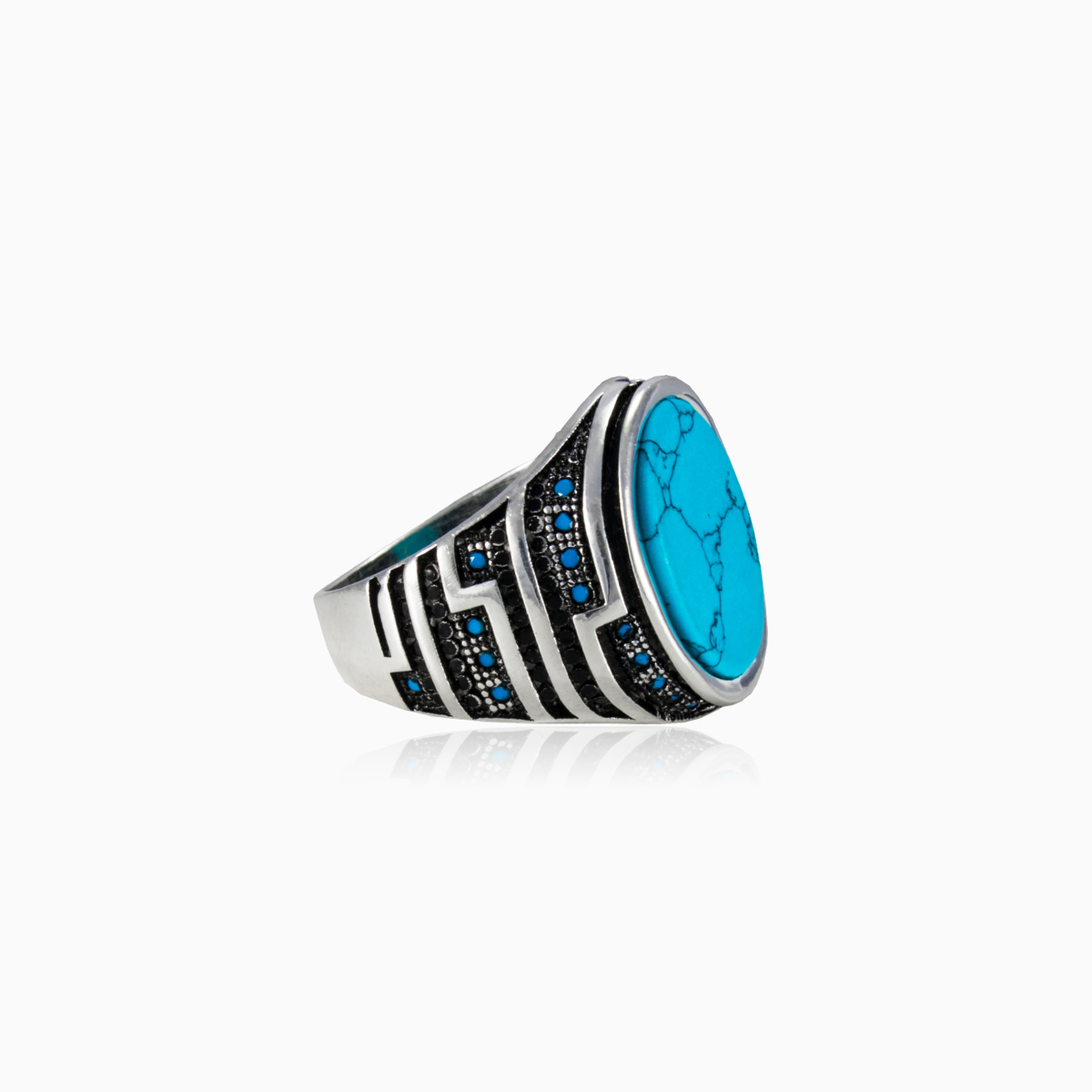 Silver plated and turquoise O 12-54 12 Ring Size 7 14