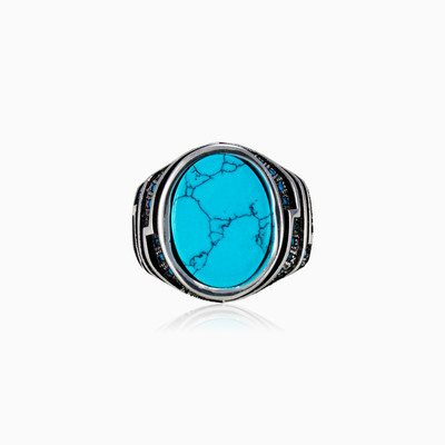 Oval turquoise ring man rings NT