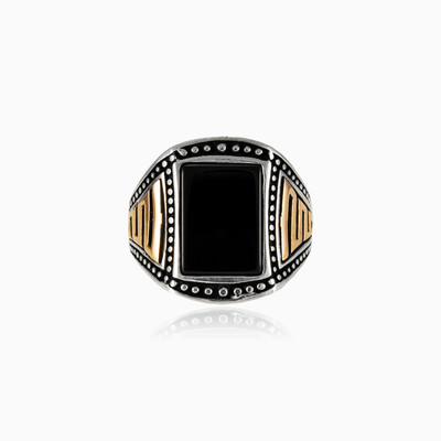 Greek rectangle onyx man rings NT