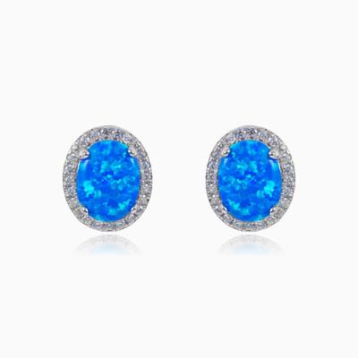 Oval blue opal earrings woman Earrings Halo