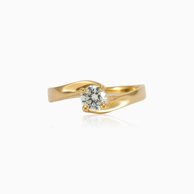 Twisted solitaire ring woman engagement rings MC Gold