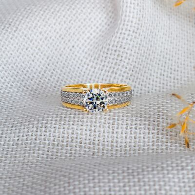 Double row solitaire woman engagement rings