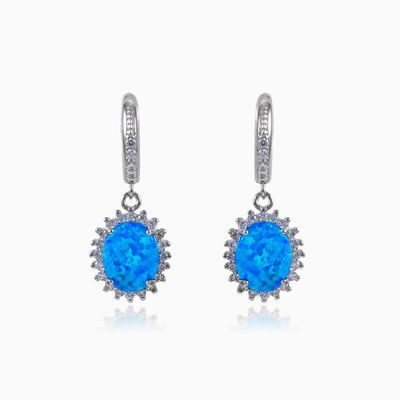 Royal blue opal earrings woman earrings MC Silver