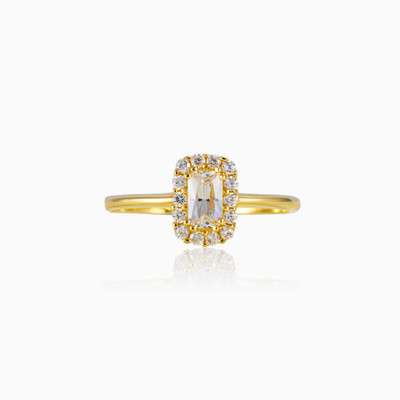 Rectangle halo ring woman engagement rings