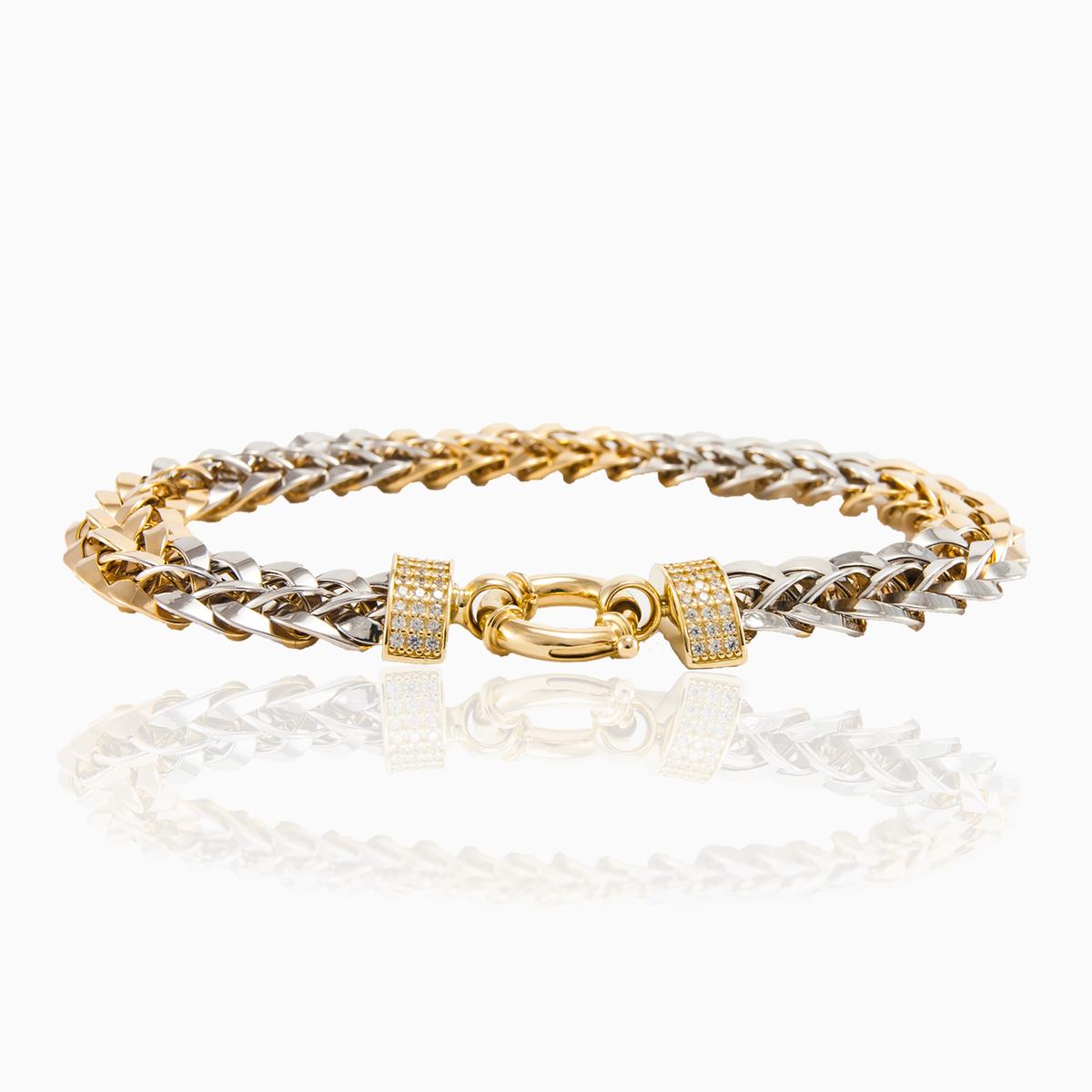 Yellow White 14k Gold Bracelet For