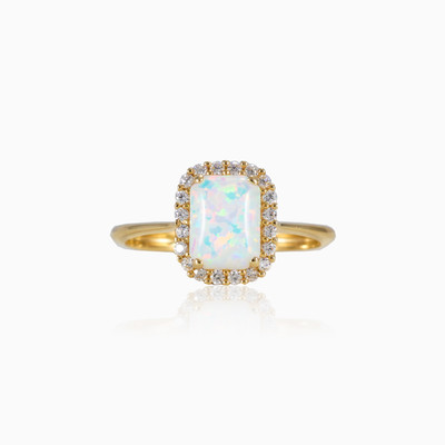 Rectangle opal ring woman engagement rings MC Gold