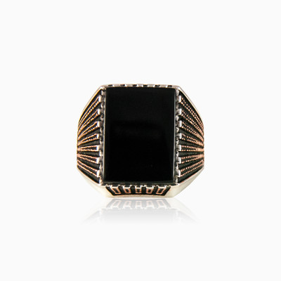 Rectangle onyx ring man rings NT
