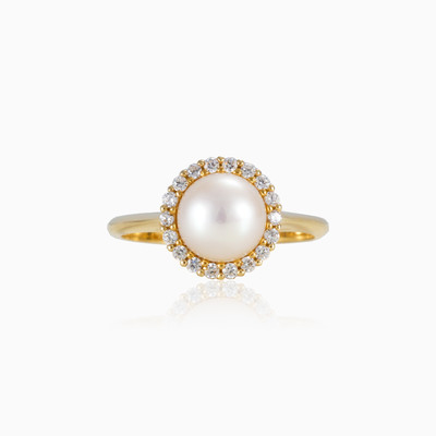 Halo pearl ring woman engagement rings