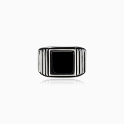 Symmetric square onyx ring man rings NT