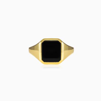 Gold onyx ring unisex Rings Tinge