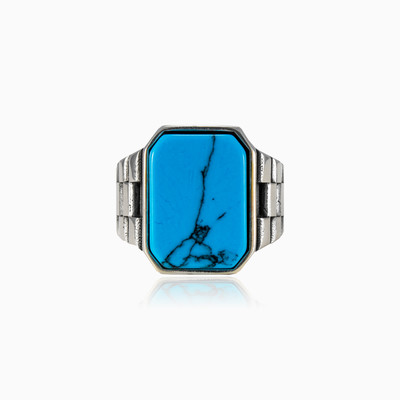Flat emerald turquoise ring man rings NT