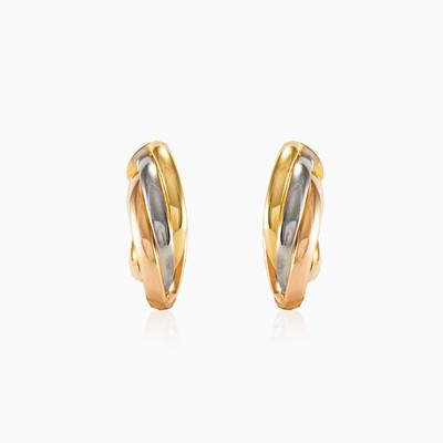 Drei goldene Ohrringe Frauen Ohrringe High polished