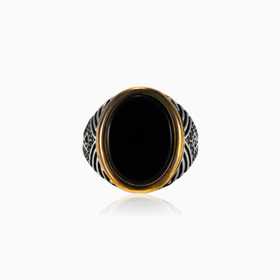 Handcrafted oval onyx man rings NT