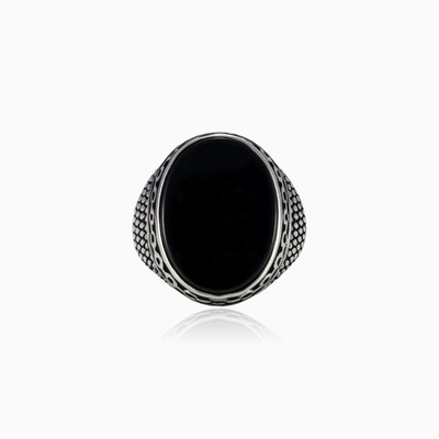 Oval chained onyx man Rings