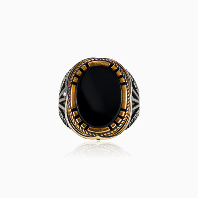 Greek oval onyx man rings