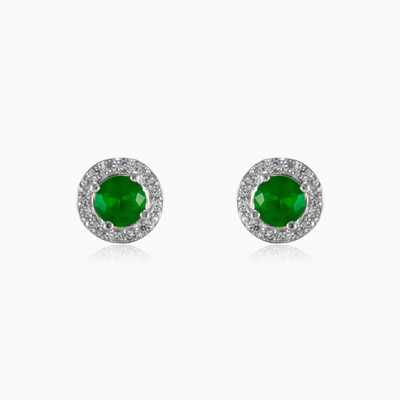 Round green earrings woman earrings