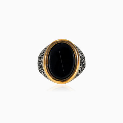 Unique handcrafted onyx ring man rings NT