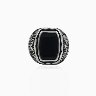 Detailed rectangle onyx man rings NT