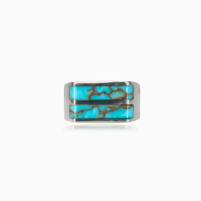 Two turquoise lines man rings Harmony