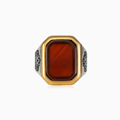 Rectangle red agate ring man rings NT