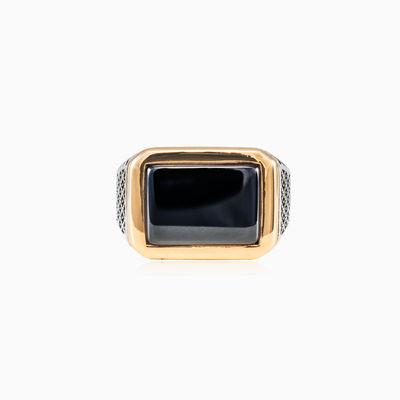 Wide detailed onyx ring unisex Rings Detallado