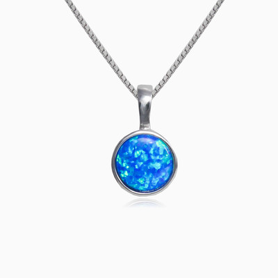 Round blue opal pendant woman pendants Colorino