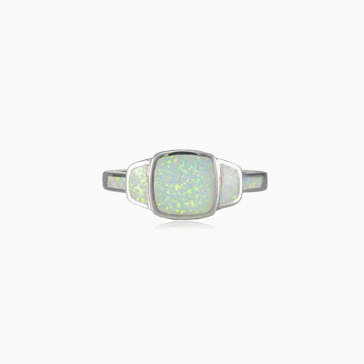 Square white opal ring woman rings MC Silver