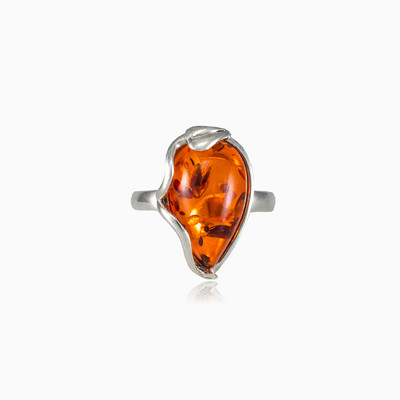 Pear amber ring woman rings MC Silver