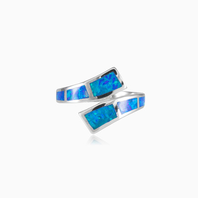 Twisted blue opal ring woman rings MC Silver