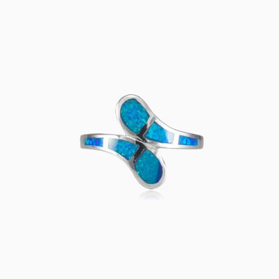 Soft twisted blue opal ring woman rings