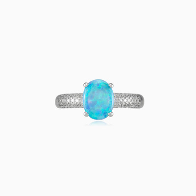 Accent blue opal ring woman rings MC Silver