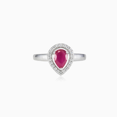 Pear ruby ring woman rings Halo