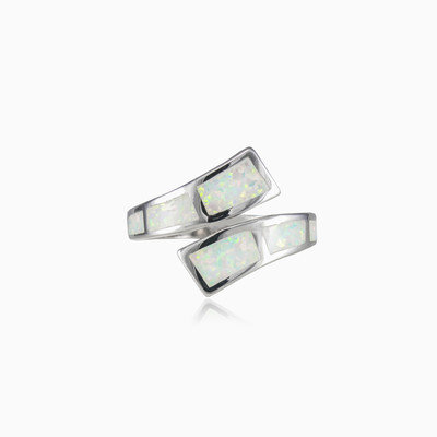 Twisted white opal ring woman rings Colorino