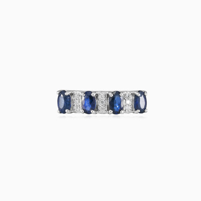 Sapphire band silver ring woman Wedding rings Colorino