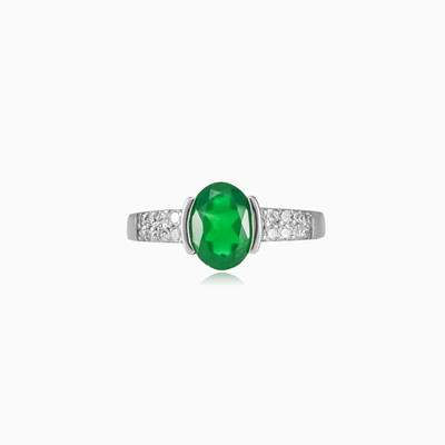 Semi bezel jade ring woman rings