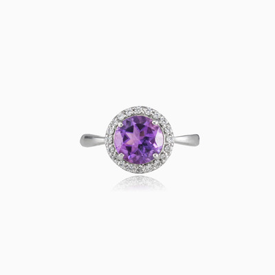 Round amethyst ring woman Rings Halo